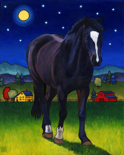 Full Moon Painting - Midnight Horse by Stacey Neumiller