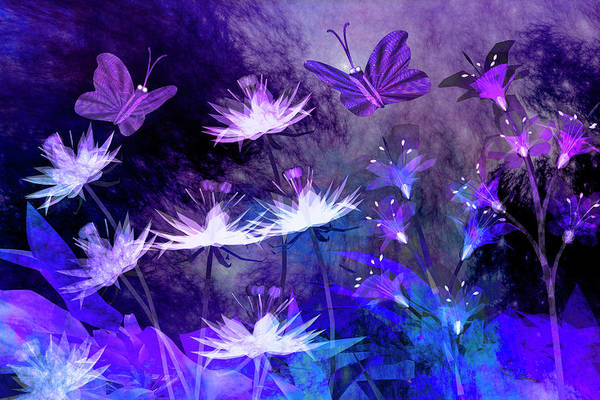 Wall Art - Digital Art - Midnight In The Enchanted Garden by Carol and Mike Werner