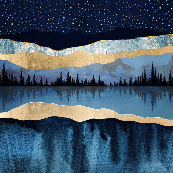 Wall Art - Digital Art - Midnight Lake by Spacefrog Designs