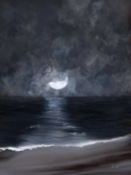 Digital Art - Midnight Over The Lake by Dick Bourgault