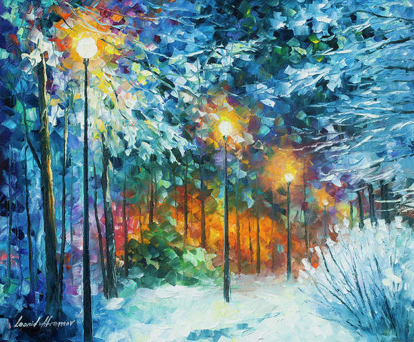 Wall Art - Painting - Midnight Snow Songs  by Leonid Afremov