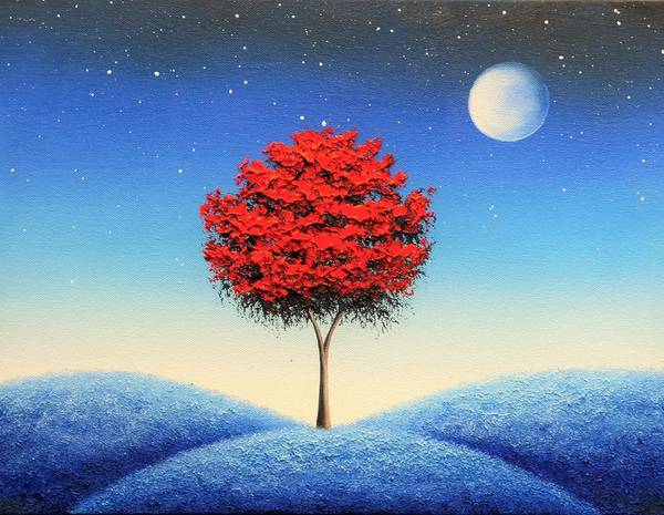 Full Moon Painting - Midnight Story by Rachel Bingaman