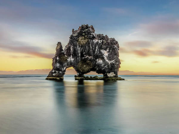Photograph - Midnight Sun, Hvitserkur, Iceland # 1 by Tom and Pat Cory