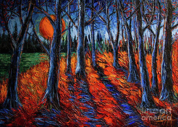Wall Art - Painting - Midnight Sun Wood 1 by Mona Edulesco