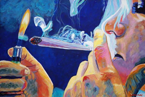 Lighting Wall Art - Painting - Midnight Toker by Anita Toke