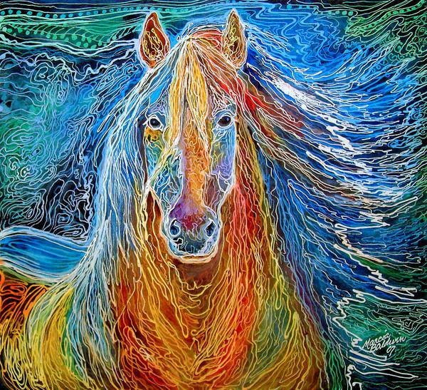 Painting - Midnightsun Equine Batik by Marcia Baldwin