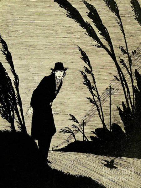 Wall Art - Drawing - Midst Of All Was A Cold White Face by Harry Clarke