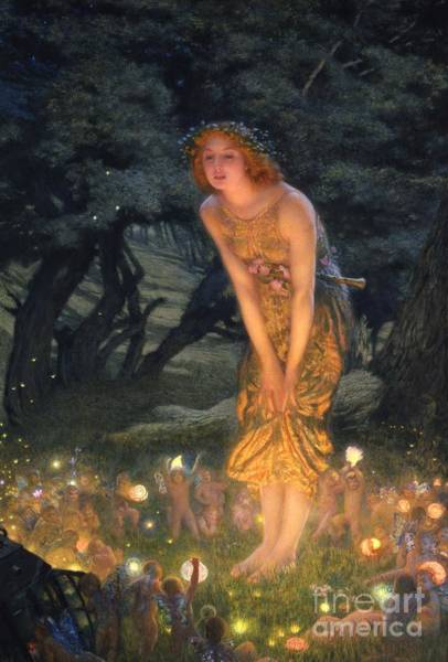 Lamp Wall Art - Painting - Midsummer Eve by Edward Robert Hughes