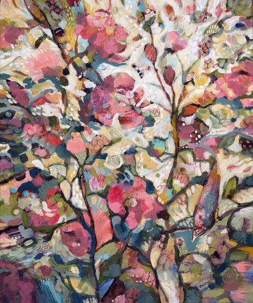 Wall Art - Painting - Midsummer Hollyhocks by Jen Norton