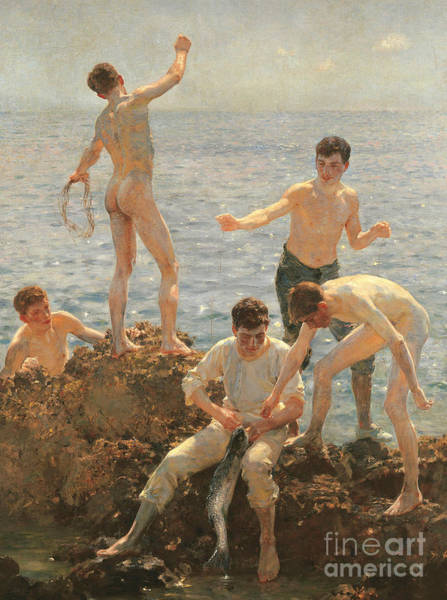 Groups Of People Painting - Midsummer Morning, 1908 by Henry Scott Tuke