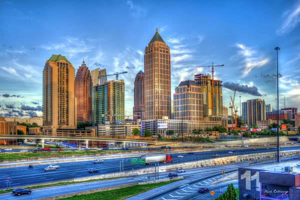 Photograph - Cranes At Work Midtown Atlanta Construction Art by Reid Callaway