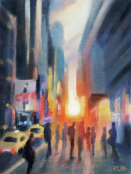 Semi Abstract Painting - Midtown Manhattan Sunset by Beverly Brown