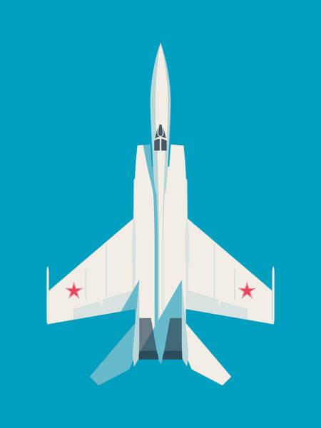 Cold War Digital Art - Mig-25 Foxbat Interceptor Jet Aircraft - Cyan by Ivan Krpan