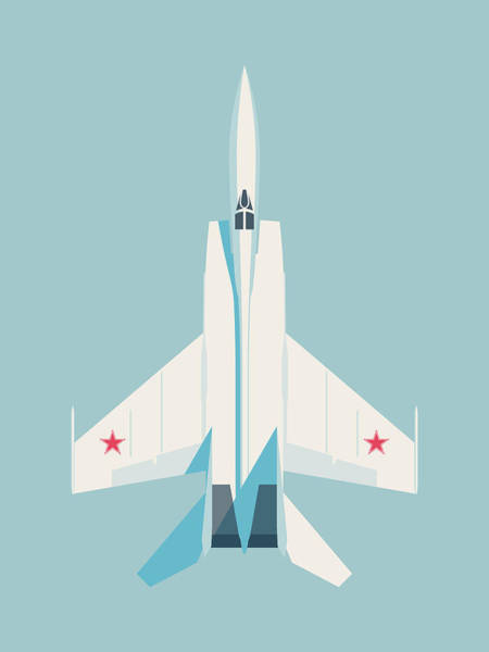 Cold War Digital Art - Mig-25 Foxbat Interceptor Jet Aircraft - Sky by Ivan Krpan