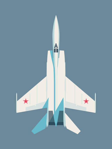 Cold War Digital Art - Mig-25 Foxbat Interceptor Jet Aircraft - Slate by Ivan Krpan