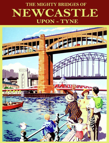 Wall Art - Painting - Mighty Bridges Of Newcastle Upon Tyne, England by Long Shot