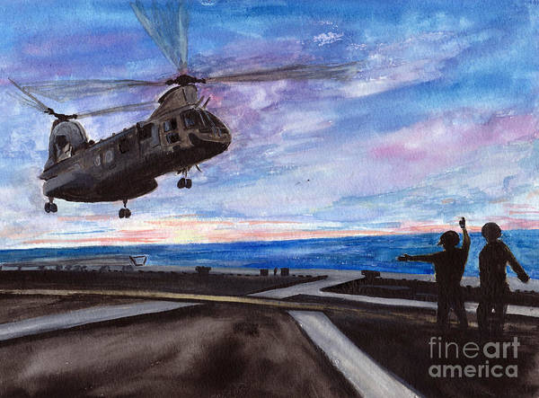 Flight Deck Painting - Mike Delta 2 3 Is Home by Sarah Howland-Ludwig