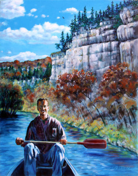 Wall Art - Painting - Mike On Float Trip by John Lautermilch
