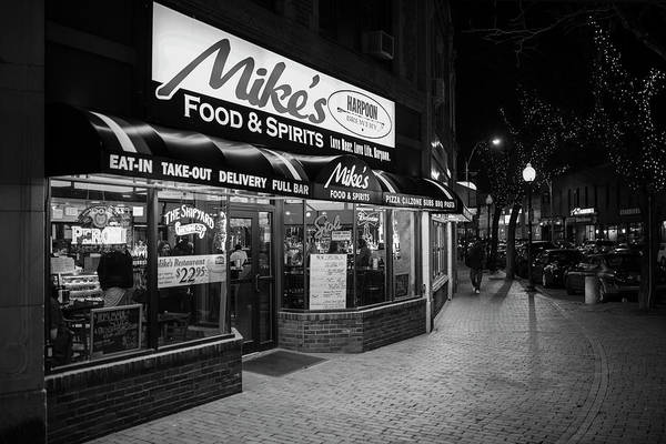 Photograph - Mike's Food And Spirits Davis Square Somerville Black And White by Toby McGuire