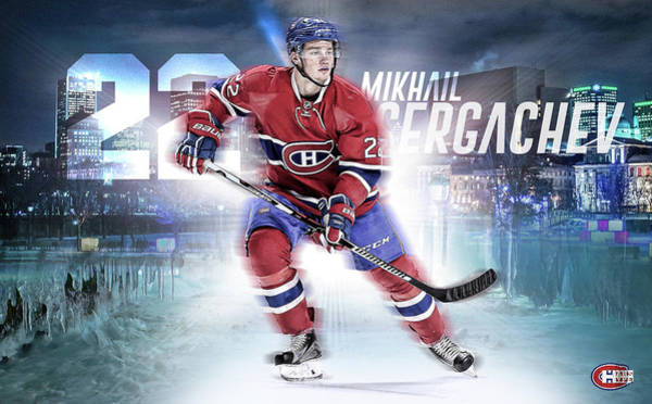 Montreal Canadiens Digital Art - Mikhail Sergachev Artwork by Nicholas Legault