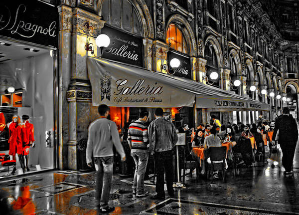 Photograph - Milan  Shopping District At Night by Ginger Wakem