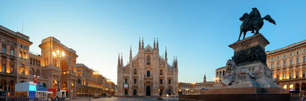 Photograph - Milan Cathedral Square Panorama by Songquan Deng