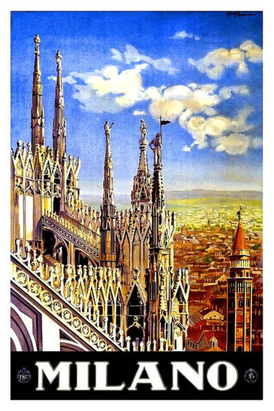 Wall Art - Painting - Milan Cathedral, Vintage Travel Poster by Long Shot