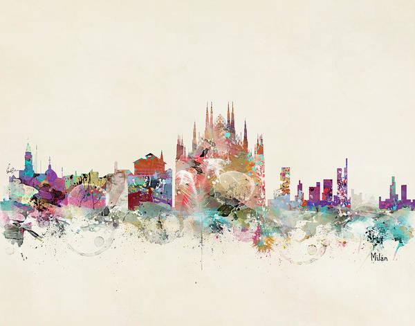 Whimsical Digital Art - Milan Italy Skyline by Bri Buckley
