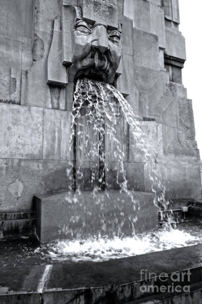 Photograph - Milan Italy Train Station Fountain In Black And White by Gregory Dyer