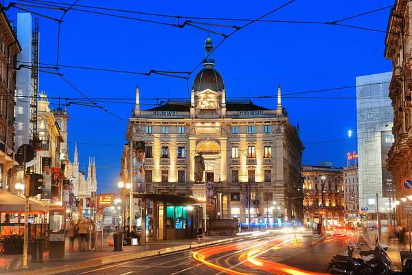Photograph - Milan Street Tram At Night by Songquan Deng