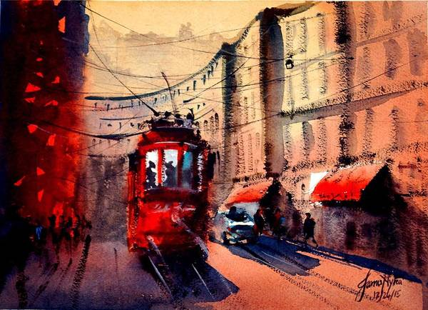 Rail Painting - Milan Tram 2 by James Nyika