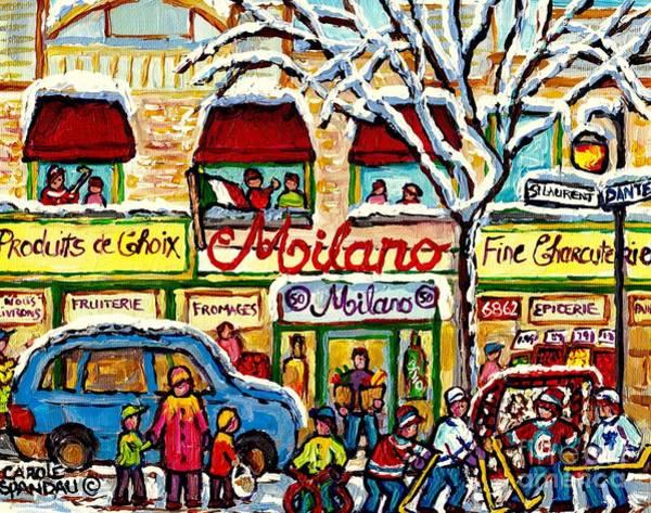 Boys Playing Hockey Painting - Milano Grocery Little Italy Paintings Dante Street Hockey Art Montreal Winter Scene Carole Spandau   by Carole Spandau