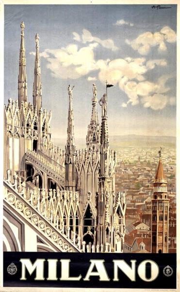 Catholic Mixed Media - Milano Travel Poster - Milano Cathedral, Italy - Retro Travel Poster - Vintage Poster by Studio Grafiikka
