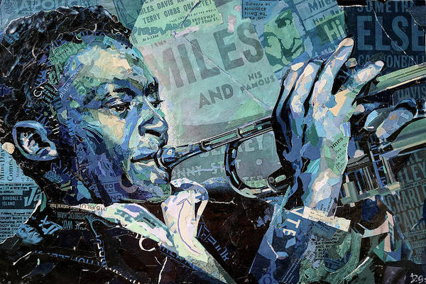 Trumpet Mixed Media - Miles Blue And Green by Daniel Gardiner