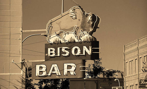 Roadside Attraction Wall Art - Photograph - Miles City, Montana - Bison Bar Sepia by Frank Romeo