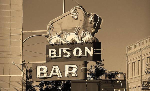 Miles City, Montana - Bison Bar Sepia Art Print