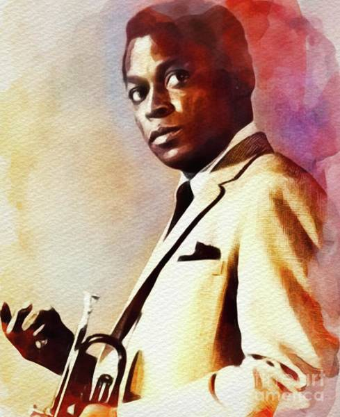 Wall Art - Painting - Miles Davis, Music Legend by John Springfield