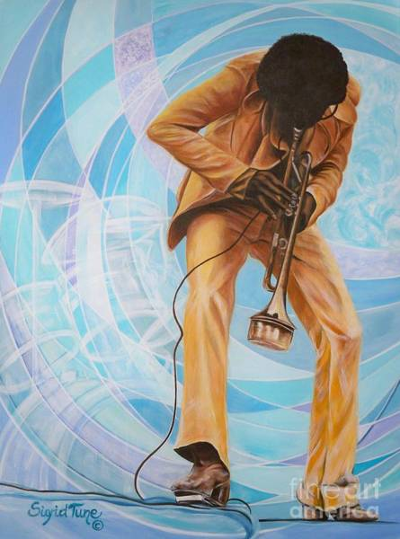 Painting -      Miles Davis  In A Yellow Suit by Sigrid Tune
