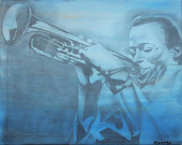 Trumpet Mixed Media - Miles On Blue by Dawn Campbell