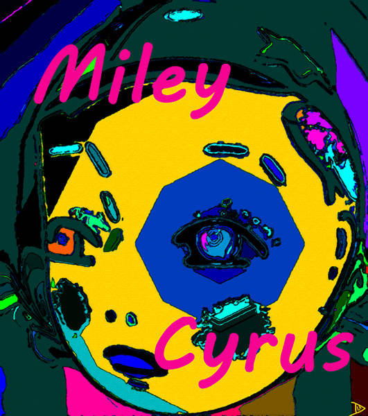 Miley Cyrus Wall Art - Painting - Miley At Five Work C by David Lee Thompson