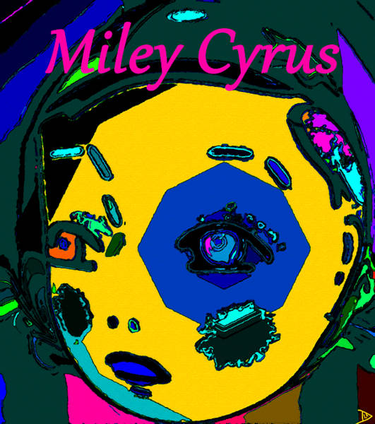 Miley Cyrus Wall Art - Painting - Miley Cyrus At Five With An Attitude Print by David Lee Thompson