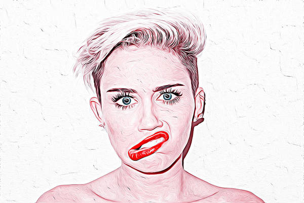 Miley Cyrus Wall Art - Painting - Miley Cyrus by Queso Espinosa