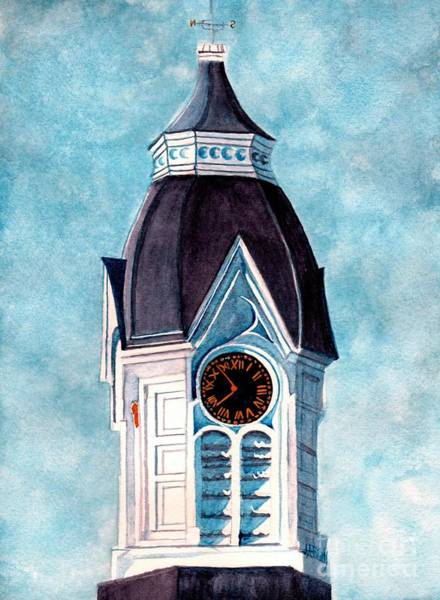 Clock Tower Painting - Milford Clock Tower by Janine Riley
