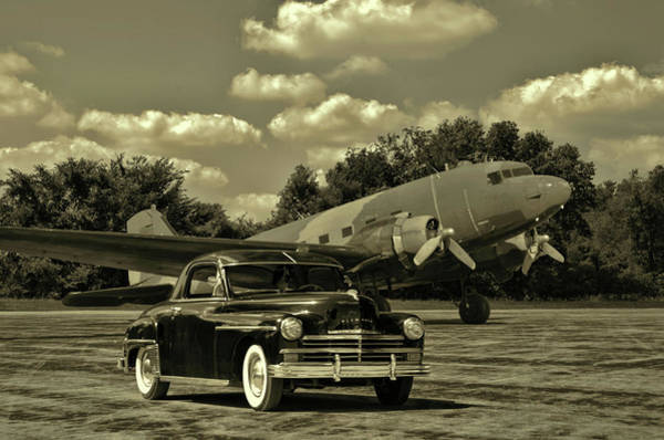 Photograph - Military C47 And 1949 Plymouth by Tim McCullough