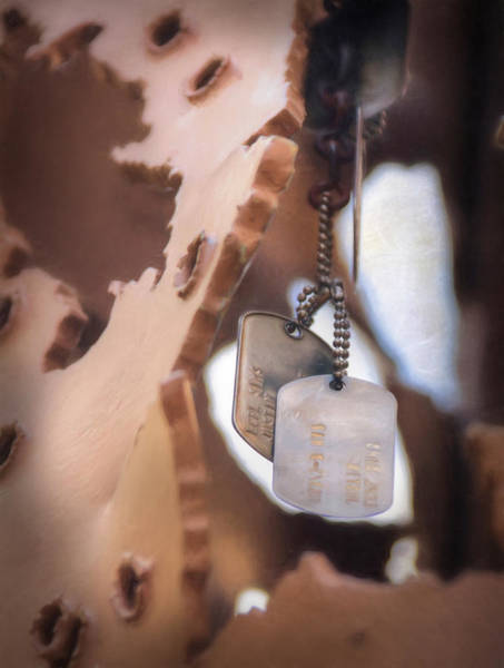 Sacrifice Mixed Media - Military Dog Tags by Lori Deiter