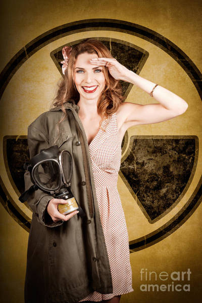Atomic Photograph - Military Pin-up Woman. Atomic Female Bombshell by Jorgo Photography - Wall Art Gallery