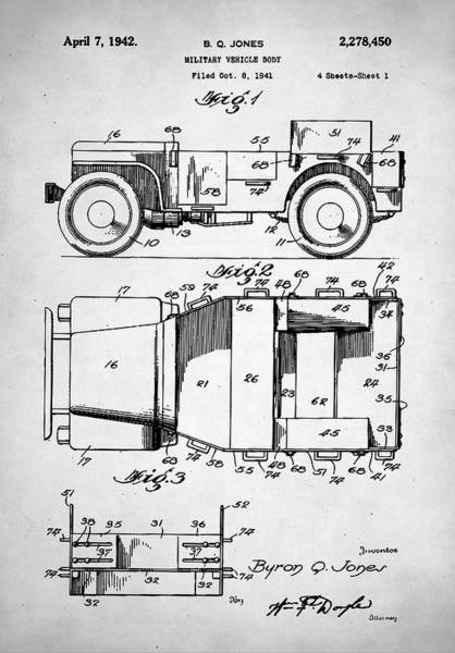Q Digital Art - Military Vehicle Patent by Zapista Zapista