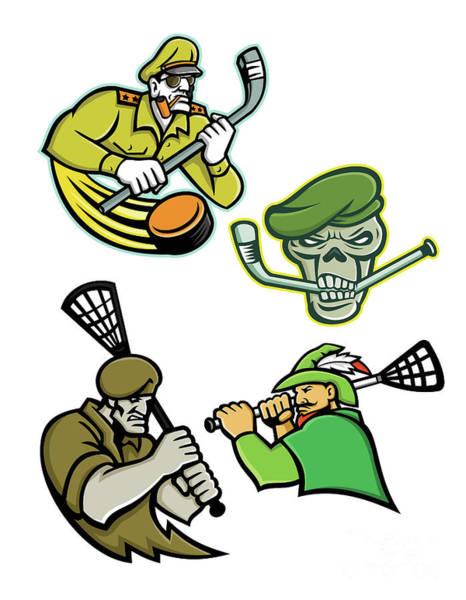Wall Art - Digital Art - Military Warriors Lacrosse And Ice Hockey Mascot Collection by Aloysius Patrimonio