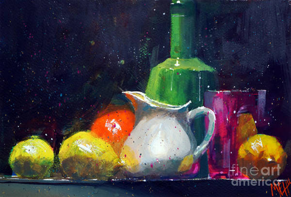 Guache Painting - Milk Jar And Lemons by Andre MEHU