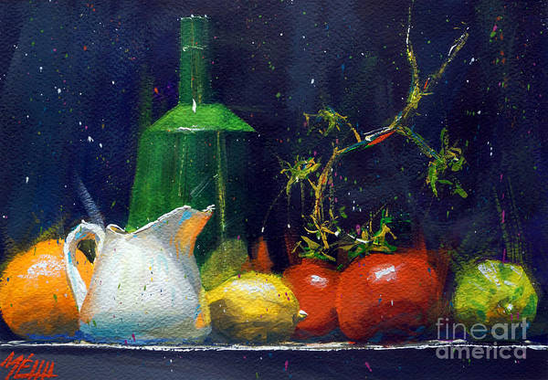 Guache Painting - Milk Jar And Tomatoes by Andre MEHU